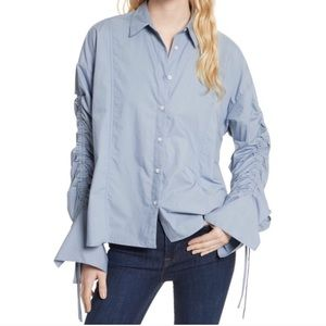 Free People Blue Button Down Top Size S
